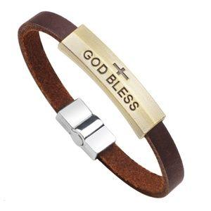 Jewelry - GOD BLESS Leather Bracelet